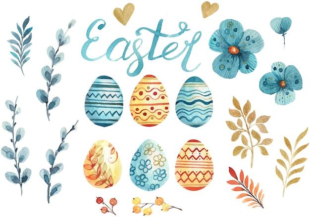 Zestaw Ręcznie Rysowane Elementy Akwarela Na Obchody Wielkanocy Premium Wektorów