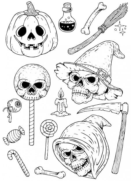 Zestaw ręcznie rysowane elementy halloween Premium Wektorów
