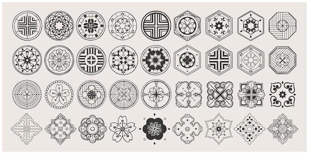 Zestaw Ręcznie Rysowane Elementy Orientalne. Czarna Mandala. Azjatycki Tradycyjny Design. Premium Wektorów