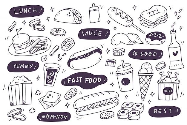 Zestaw Ręcznie Rysowane Fast Foodów Doodle Premium Wektorów