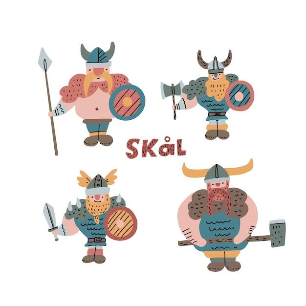 Zestaw ręcznie rysowane ilustracji wikingów z hełmem, włócznią, toporem i mieczem Premium Wektorów