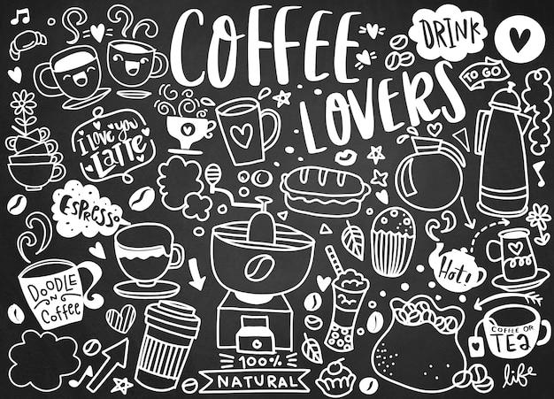 Zestaw Ręcznie Rysowane Kawy I Pyszne Słodycze. Ilustracji Wektorowych Premium Wektorów