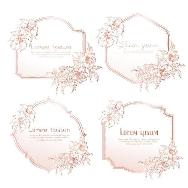 Zestaw Ręcznie Rysowane Kwiatowy Ramki. Geometryczna Rama Z Ręka Rysującym Kwiatem, Botaniczny Skład Premium Wektorów
