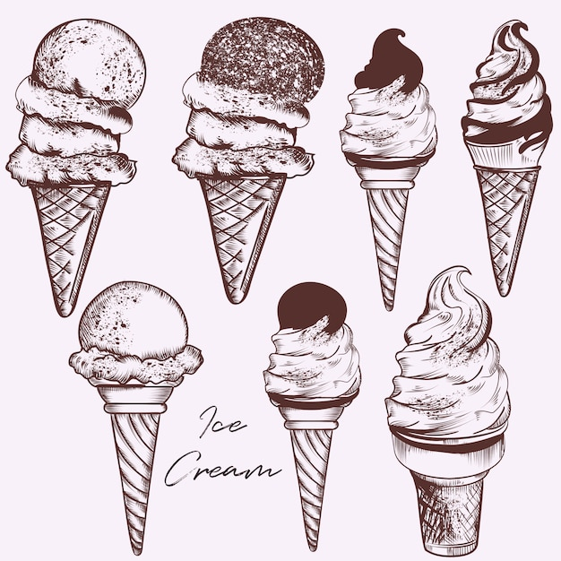Zestaw ręcznie rysowane lody Darmowych Wektorów
