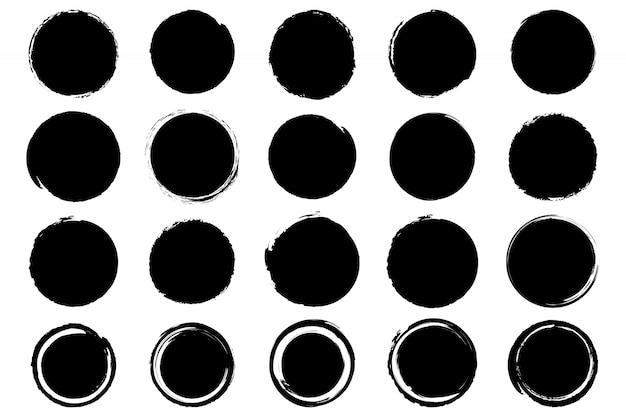 Zestaw Ręcznie Rysowane Nieczysty Atrament Czarny Okrąg. Premium Wektorów