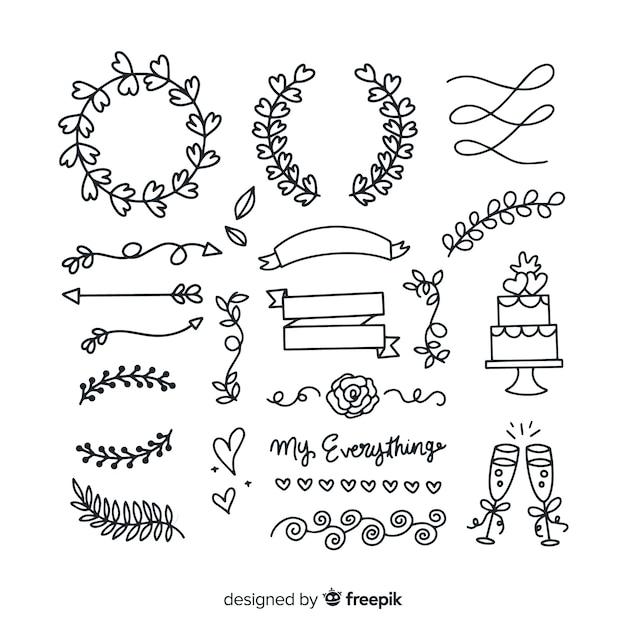 Zestaw ręcznie rysowane ozdoby ślubne Darmowych Wektorów