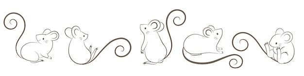 Zestaw Ręcznie Rysowane Szczurów, Myszy W Różnych Pozach, Stylu Cartoon Doodley. Premium Wektorów