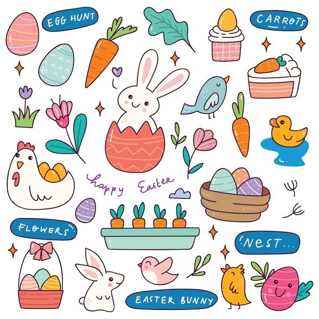 Zestaw Ręcznie Rysowane Wielkanoc Doodle Premium Wektorów