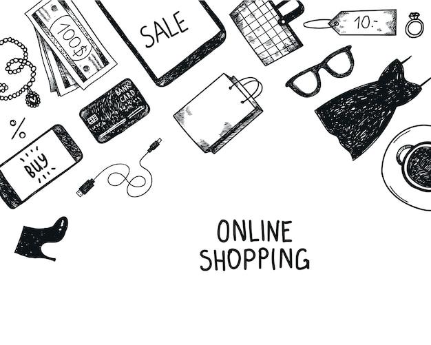 Zestaw Ręcznie Rysowane Zakupy Obiektów Online, Ilustracja, Ikony. Baner, Plakat, Karta Czarno-białe Premium Wektorów