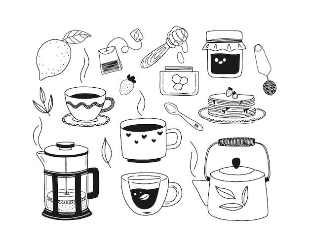 Zestaw Ręcznie Rysowanych Filiżanek Herbaty, Imbryka, Ziół, Cytryny, Miodu, Dżemu, Naleśników, Francuskiej Prasy. Czarno-biała Ilustracja. Premium Wektorów