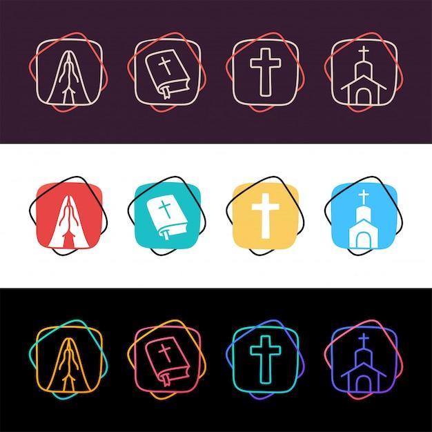 Zestaw religii chrześcijańskiej proste kolorowe ikony w trzech stylach. krzyż, módlcie się, kościół, pismo święte Premium Wektorów