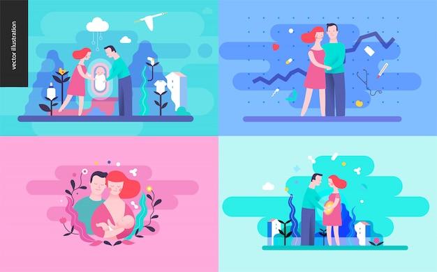 Zestaw Reprodukcji Ilustracji Wektorowych Premium Wektorów