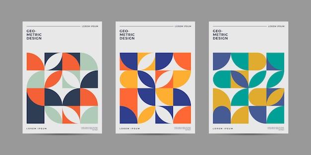 Zestaw retro geometryczny wzór okładki Premium Wektorów