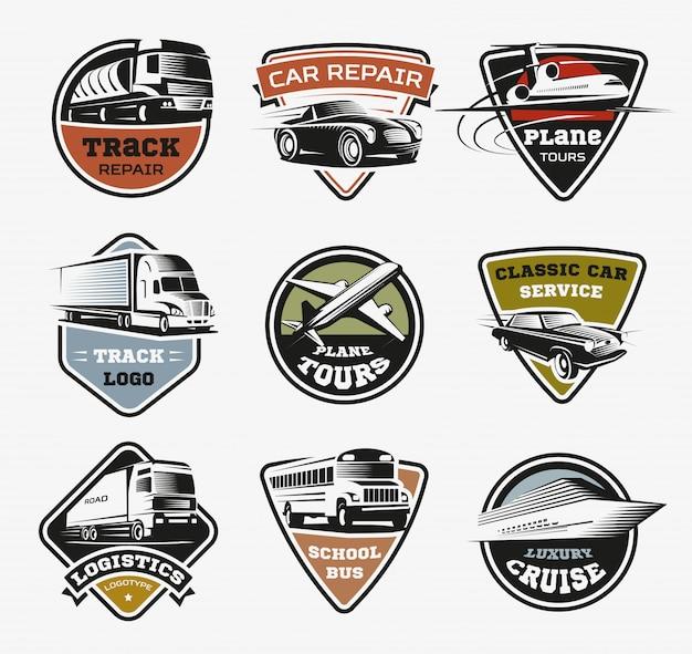 Zestaw Retro Logo Na Białym Tle Transportu Darmowych Wektorów