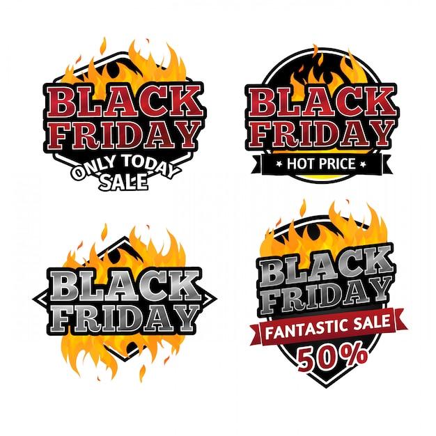 Zestaw Retro Logo Na Sprzedaż W Czarny Piątek. Premium Wektorów