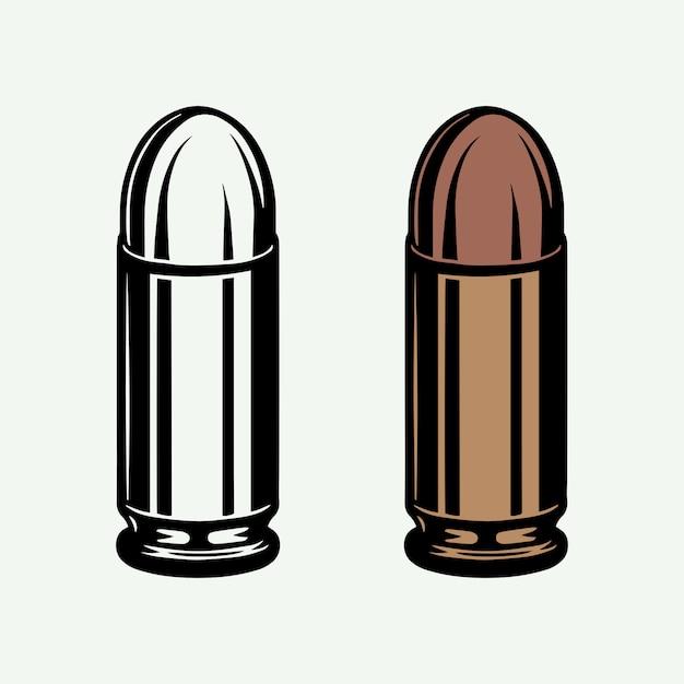 Zestaw Retro Vintage Kul W Trybie Monochromatycznym I Kolorowym. Amunicja 9mm Do Pistoletu. Styl Linii Drzeworyt. Premium Wektorów