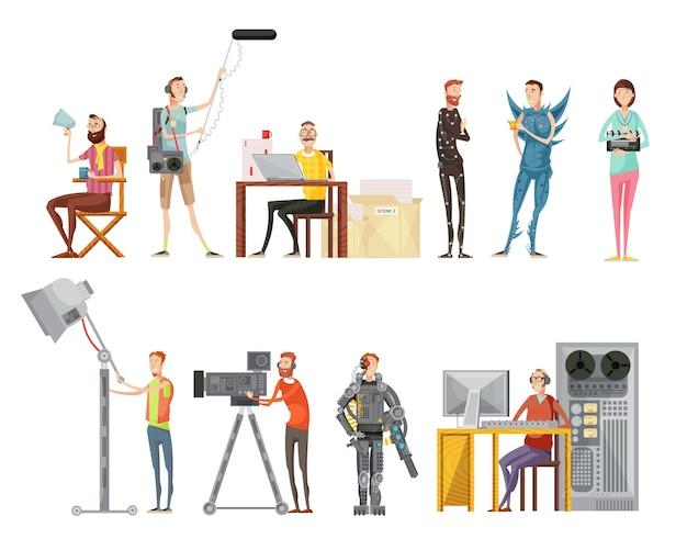 Zestaw robienia filmów, w tym aktorów reżyser kamerzysta inżynier dźwięku oświetlenie operator płaski styl ilustracji wektorowych na białym tle Darmowych Wektorów