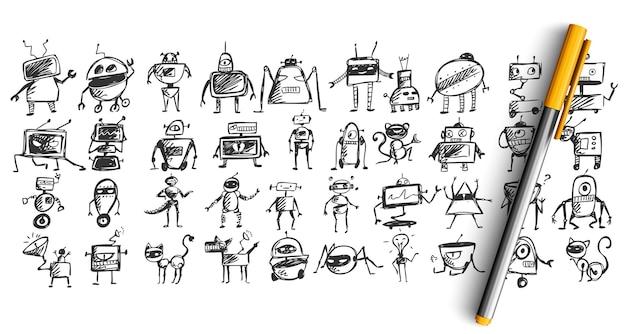 Zestaw Robotów Bazgroły Na Białym Tle Premium Wektorów