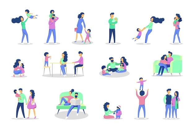 Zestaw Rodzinnego Wypoczynku W Różnych Sytuacjach. Dziewczyna I Chłopak Bawią Się Z Mamą I Tatą. Ilustracja Premium Wektorów