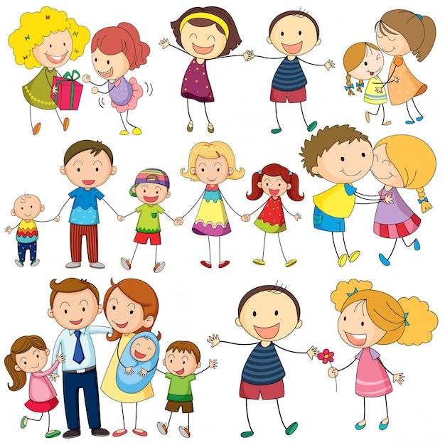Zestaw rodzinny Darmowych Wektorów