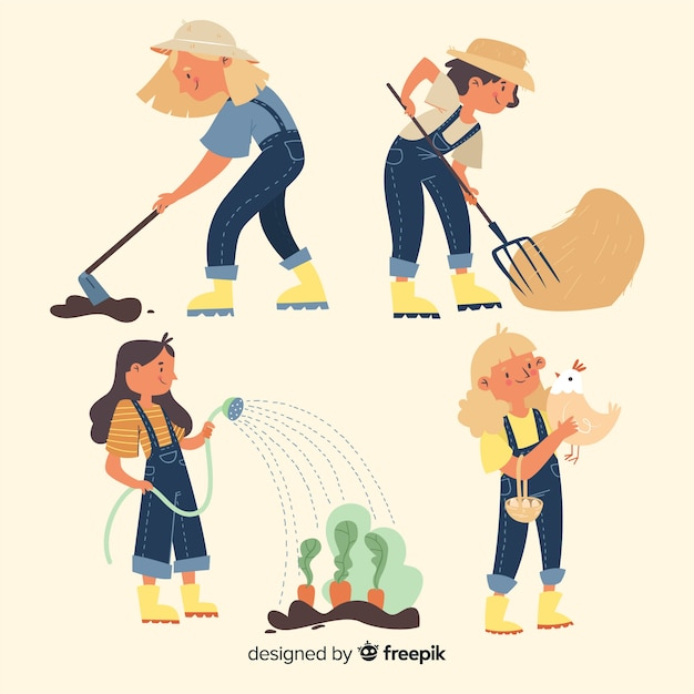 Zestaw rolników pracujących ilustrowany Darmowych Wektorów
