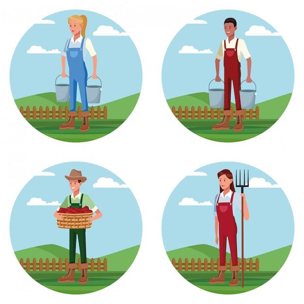 Zestaw rolników pracujących w kreskówkach gospodarstwa Darmowych Wektorów