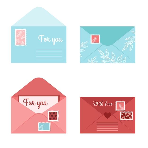 Zestaw Romantyczny List Kopertowy I Pocztówki. Odosobnione Otwarte Koperty Ze Znaczkami I Pieczęciami Premium Wektorów