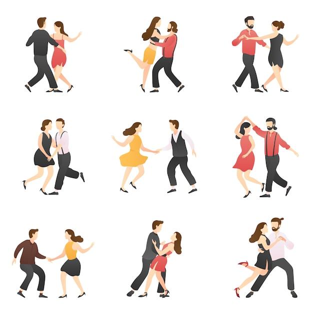 Zestaw Romantycznych Scen. Urocza Para Tańczy. Premium Wektorów