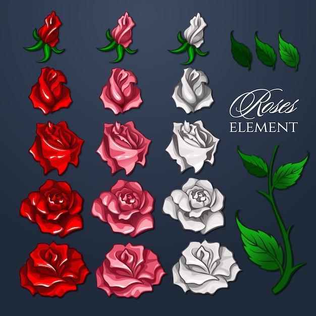 Zestaw roses elements dla projektu Premium Wektorów