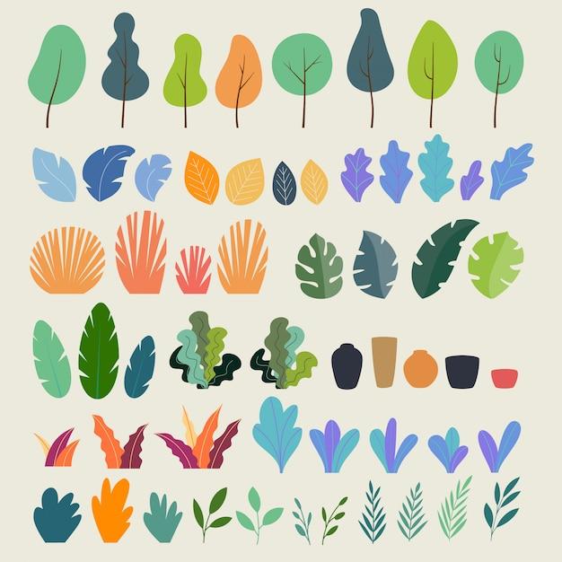 Zestaw roślin, drzew, liści, gałęzi, krzewów i doniczek Premium Wektorów