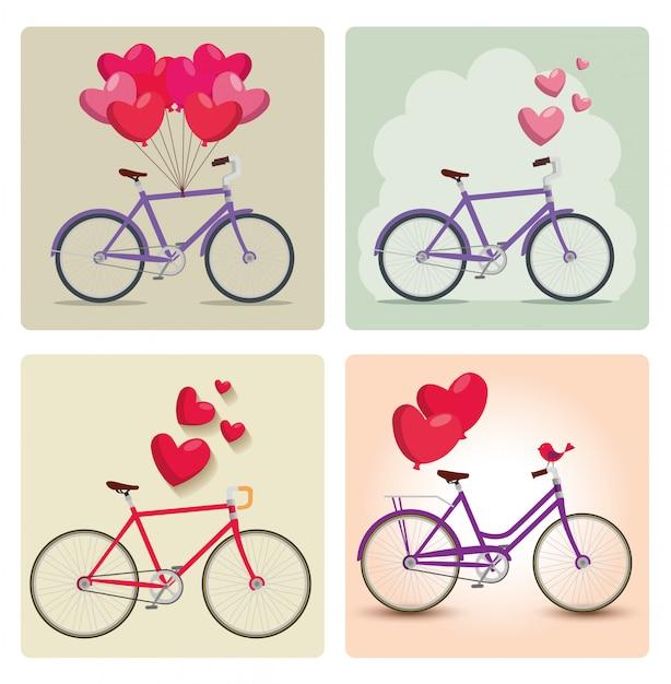 Zestaw rowerów z balonami w kształcie serca Darmowych Wektorów