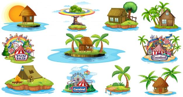 Zestaw Różnych Bangalows I Wyspa Plaży Motyw I Park Rozrywki Na Białym Tle Darmowych Wektorów