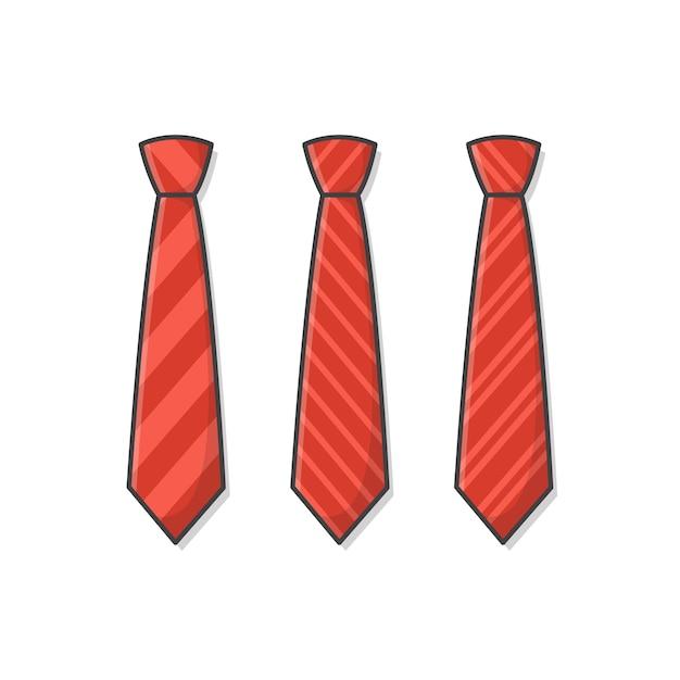Zestaw Różnych Czerwonych Krawatów Ikona Ilustracja. Męski Krawat, Męski Trend W Modzie. Ikona Płaski Krawat. Ilustracja Paski Krawaty Premium Wektorów