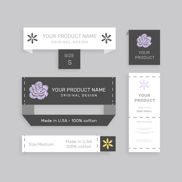 Zestaw Różnych Etykiet Papierowych Z Nazwą Produktu Premium Wektorów