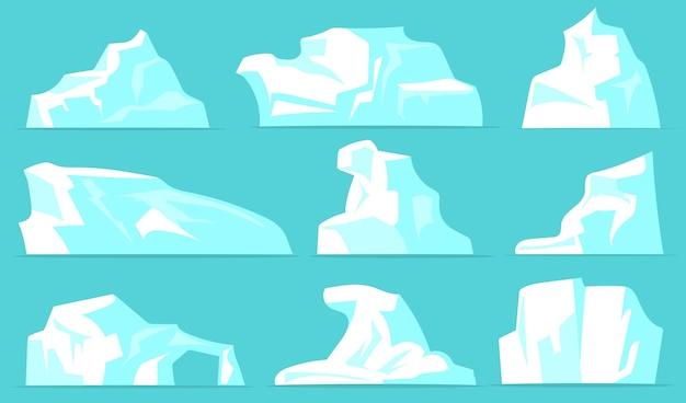 Zestaw Różnych Gór Lodowych. Białe Lodowate Góry Z Kryształowym śniegiem Na Białym Tle Na Bladoniebieskim Tle. Kolekcja Ilustracji Wektorowych Dla Arktycznego Krajobrazu, Biegun Północny, Koncepcja Natury Antarktyki Darmowych Wektorów