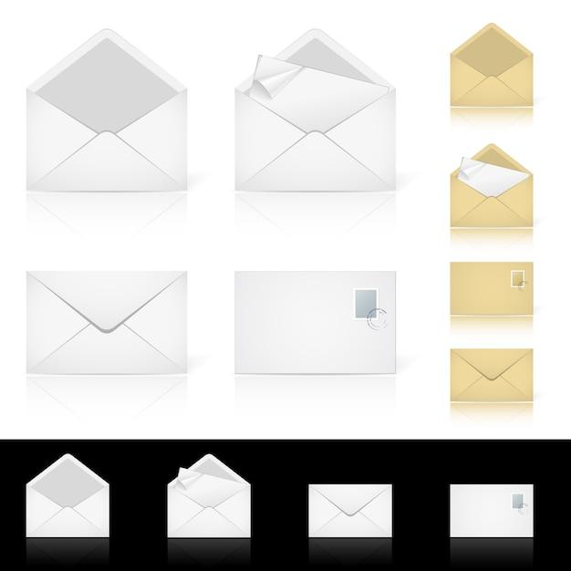 Zestaw Różnych Ikon Wiadomości E-mail Premium Wektorów