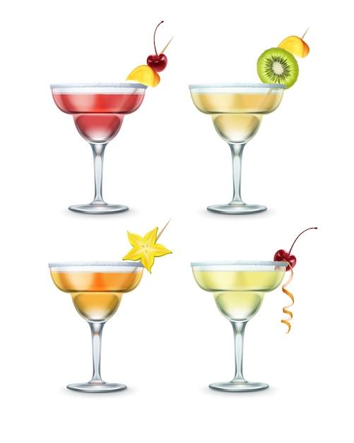 Zestaw Różnych Koktajli Margarita Przyozdobionym Wiśniami, Kawałkiem Mango, Kiwi I Karambolą Na Wykałaczce Na Białym Tle Darmowych Wektorów