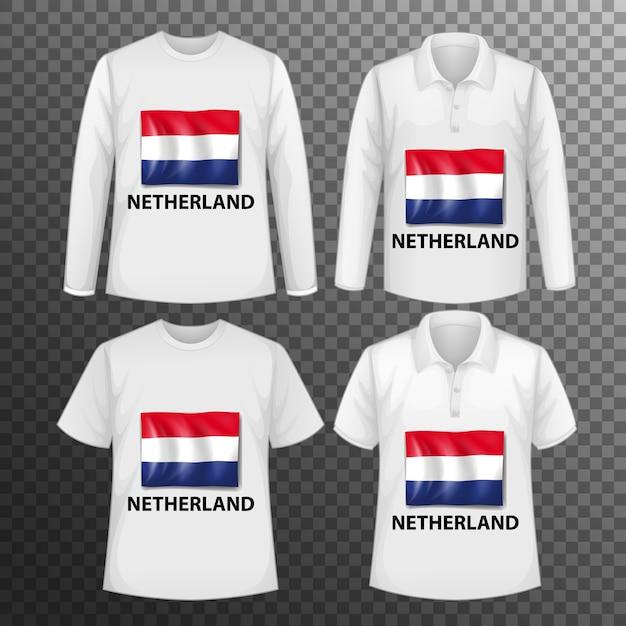 Zestaw Różnych Męskich Koszul Z Ekranem Flaga Holandii Na Koszulkach Na Białym Tle Darmowych Wektorów