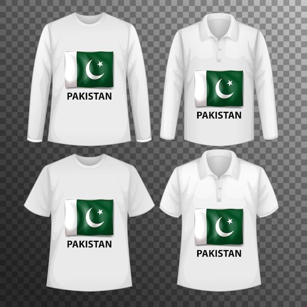 Zestaw Różnych Męskich Koszul Z Ekranem Flaga Pakistanu Na Koszulkach Na Białym Tle Darmowych Wektorów