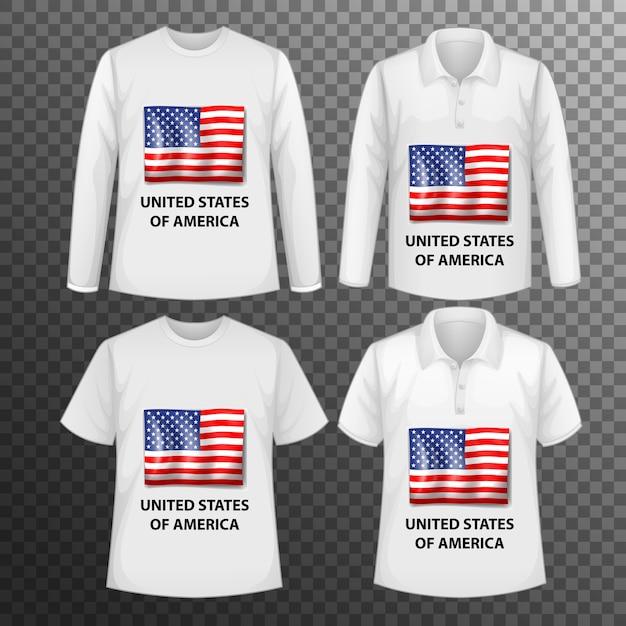 Zestaw Różnych Męskich Koszul Z Ekranem Flagi Stanów Zjednoczonych Na Koszulkach Na Białym Tle Darmowych Wektorów