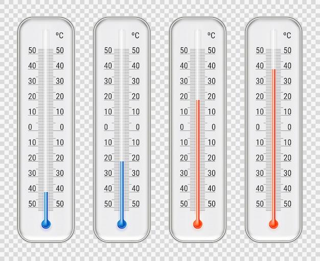 Zestaw Różnych Poziomów Termometrów Meteorologicznych Darmowych Wektorów