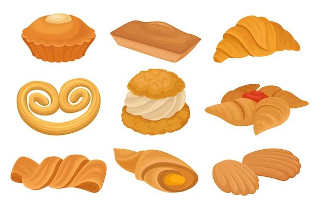 Zestaw Różnych Produktów Piekarniczych. Krater, Ciastka, Chleb. Premium Wektorów