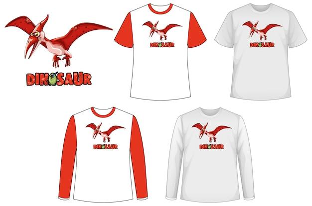 Zestaw Różnych Rodzajów Koszul W Motywie Dinozaura Z Logo Dinozaura Darmowych Wektorów