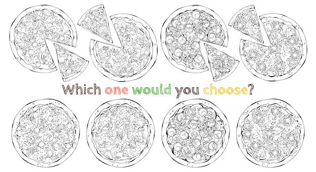 Zestaw różnych rodzajów pizz wektorowych. naszkicować. Premium Wektorów