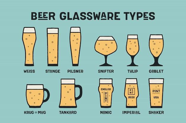 Zestaw różnych rodzajów szkła i kubek do piwa Premium Wektorów