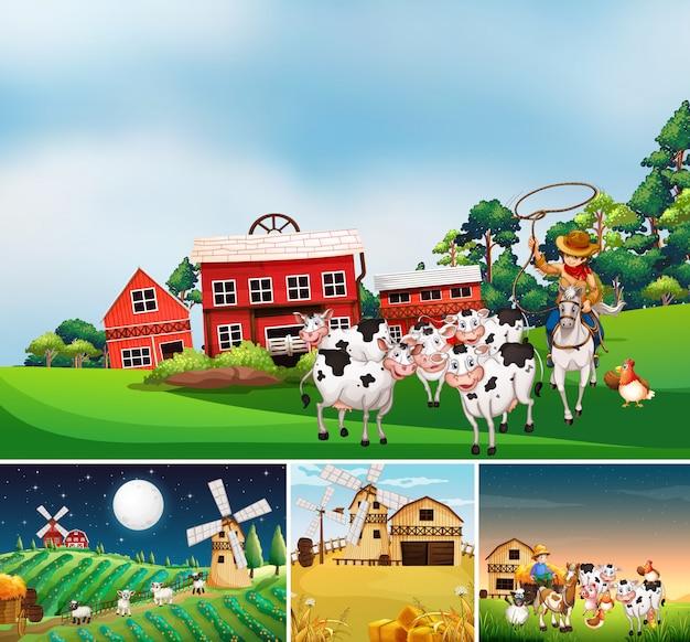 Zestaw Różnych Scen Farmy Ze Stylem Kreskówki Farmy Zwierząt Darmowych Wektorów