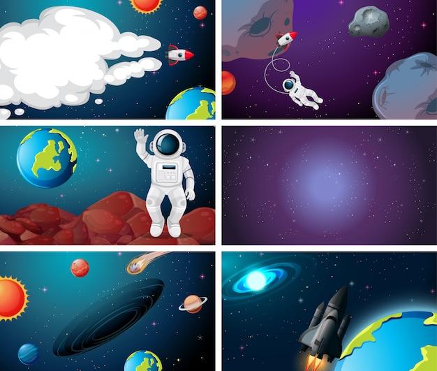 Zestaw różnych scen kosmicznych Darmowych Wektorów