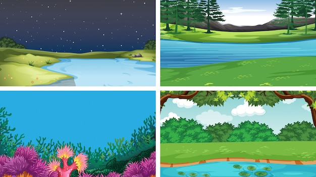 Zestaw różnych scen sceny wody Darmowych Wektorów