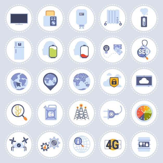 Zestaw różnych technologii ikony kolekcja mieszkanie na białym tle Premium Wektorów