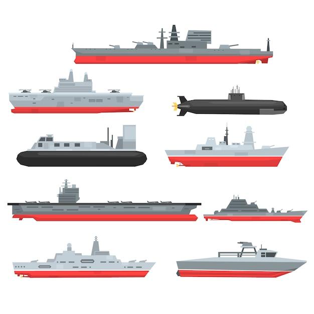 Zestaw Różnych Typów Okrętów Bojowych Marynarki Wojennej, łodzie Wojskowe, Statki, Fregaty, Okręty Podwodne Ilustracje Na Białym Tle Premium Wektorów